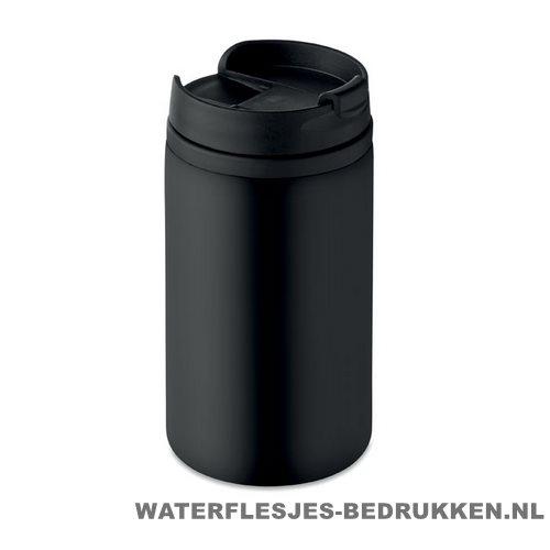 Reisbeker compact 250ml bedrukken zwart