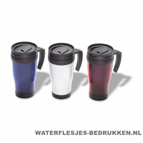 Reisbeker kunststof bedrukken kleuren, koffiebeker goedkoop bedrukken