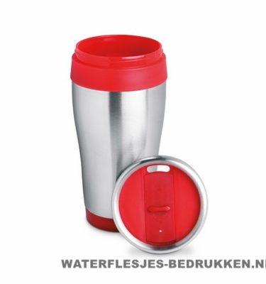 Reisbeker rvs groot bedrukken rood, koffiebeker goedkoop bedrukken