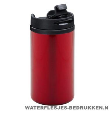 Reisbeker goedkoop klein 280ml bedrukt rood